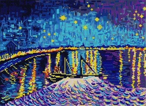 """Канва/ткань с нанесенным рисунком Конёк """"Звездная ночь над Роной"""""""