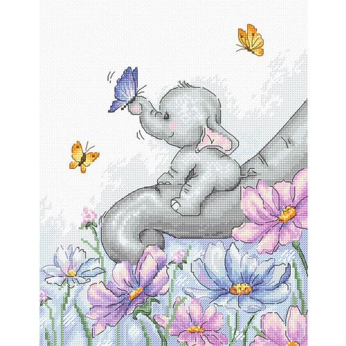 """Набор для вышивания крестом Luca-S """"Слон с бабочкой"""""""