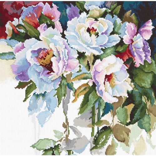 """Набор для вышивания крестом Luca-S """"Белые розы"""""""