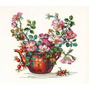 """Набор для вышивания крестом Eva Rosenstand """"Старый чайник с розами"""""""