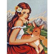 """Канва/ткань с нанесенным рисунком Diamant """"Девушка с олененком"""""""