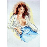 """Канва/ткань с нанесенным рисунком Gobelin-L """"Задумчивая леди в шелковой блузе"""""""