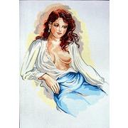 """Канва с нанесенным рисунком Gobelin-L """"Задумчивая леди в шелковой блузе"""""""