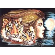"""Канва с нанесенным рисунком Diamant """"Женщина-Тигр"""""""