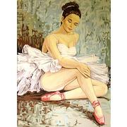 "Канва/ткань с нанесенным рисунком Gobelin-L ""Балерина разминающая колено"""