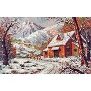 """Канва с нанесенным рисунком Diamant """"Зимний домик в горах"""""""