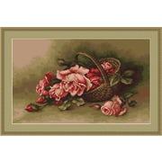 """Набор для вышивания крестом Luca-S """"Корзина с розами"""""""