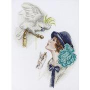 """Набор для вышивания крестом Марья искусница """"Дама с попугаем (Фишер)"""""""