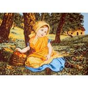 """Канва с нанесенным рисунком Gobelin-L """"Девочка с корзиной яблок"""""""