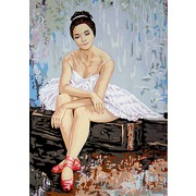"Канва/ткань с нанесенным рисунком Gobelin-L ""Балерина в красных пуантах"""