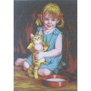 """Канва с нанесенным рисунком Gobelin-L """"Девочка с котенком"""""""