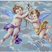 "Канва с нанесенным рисунком Gobelin-L ""Ангелочки в голубом"""