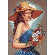 """Канва/ткань с нанесенным рисунком Diamant """"Девушка в голубом"""""""