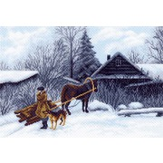 """Канва/ткань с нанесенным рисунком Матрёнин посад """"Зима в деревне"""""""