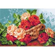 """Канва/ткань с нанесенным рисунком Матрёнин посад """"Розы в корзине"""""""