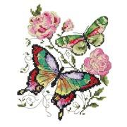 """Набор для вышивания крестом Чудесная игла """"Бабочки и розы"""""""