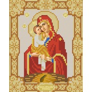 """Ткань с рисунком для вышивки бисером Конёк """"Почаевская Богородица"""""""
