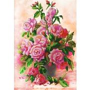 """Ткань с рисунком для вышивки бисером Конёк """"Розы в вазе"""""""