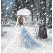 "Ткань с рисунком для вышивки бисером Конёк ""Леди Зима"""