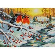 "Ткань с рисунком для вышивки бисером Конёк ""Морозное утро"""