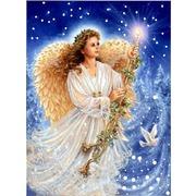 """Ткань с рисунком для вышивки бисером Конёк """"Рождественский ангел"""""""