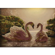"""Ткань с рисунком для вышивки бисером Конёк """"Пара лебедей"""""""