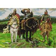 """Ткань с рисунком для вышивки бисером Конёк """"Три богатыря"""""""