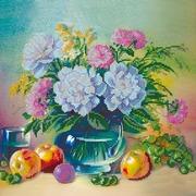 """Ткань с рисунком для вышивки бисером Абрис Арт """"Яблоки и виноград"""""""