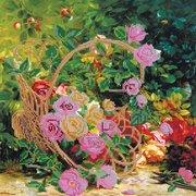 """Ткань с рисунком для вышивки бисером Абрис Арт """"Садовые розы"""""""