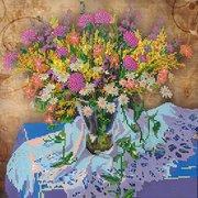 """Ткань с рисунком для вышивки бисером Абрис Арт """"Луговые цветы - 1"""""""