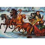 """Канва/ткань с нанесенным рисунком Конёк """"Тройка лошадей"""""""