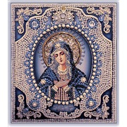 """Набор для вышивания хрустальными бусинами Образа в каменьях """"Богородица Умиление (бусины под жемчуг)"""""""