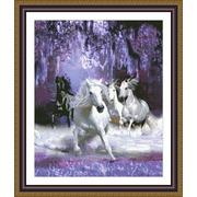 """Набор для вышивания крестом Kustom Krafts Inc. """"Лошади в ночи"""""""