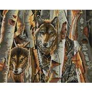 """Ткань с рисунком для вышивки бисером Конёк """"Волки в лесу"""""""