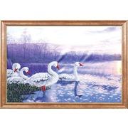 """Ткань с рисунком для вышивки бисером Магия канвы """"Лебеди на закате"""""""
