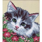 """Канва с нанесенным рисунком Матрёнин посад """"Кошка в цветах"""""""