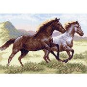"""Канва/ткань с нанесенным рисунком Матрёнин посад """"Бегущие кони"""""""