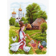 """Канва/ткань с нанесенным рисунком Матрёнин посад """"На птичьем дворе"""""""