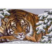 """Канва с нанесенным рисунком Матрёнин посад """"Снежный тигр"""""""