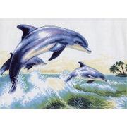 """Канва с нанесенным рисунком Матрёнин посад """"Дельфины"""""""
