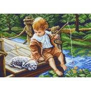 "Канва с нанесенным рисунком Матрёнин посад ""На рыбалке"""
