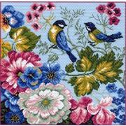 """Канва/ткань с нанесенным рисунком Матрёнин посад """"Цветы и синицы"""""""