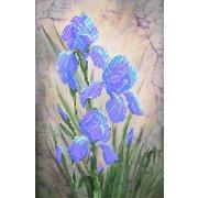"""Ткань с рисунком для вышивки бисером Матрёнин посад """"Синие ирисы"""""""