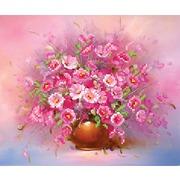 """Ткань с рисунком для вышивки бисером Матрёнин посад """"Розовые анемоны"""""""