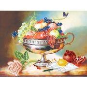 """Ткань с рисунком для вышивки бисером Матрёнин посад """"Ваза с фруктами"""""""