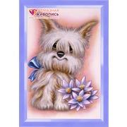 """Набор для выкладывания мозаики Алмазная живопись """"Пес с цветами"""""""