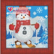 """Набор для выкладывания мозаики Алмазная живопись """"Снеговик на лыжах"""""""