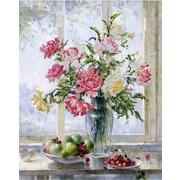 """Ткань с рисунком для вышивки бисером Глурия (Астрея) """"Цветы и фрукты"""""""