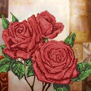 """Ткань с рисунком для вышивки бисером Глурия (Астрея) """"Красные розы"""""""