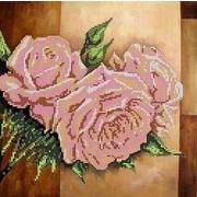 """Ткань с рисунком для вышивки бисером Глурия (Астрея) """"Розовые розы"""""""